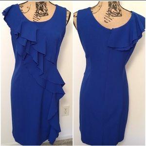 Emma & Michele Cobalt Blue Work Ruffle Dress